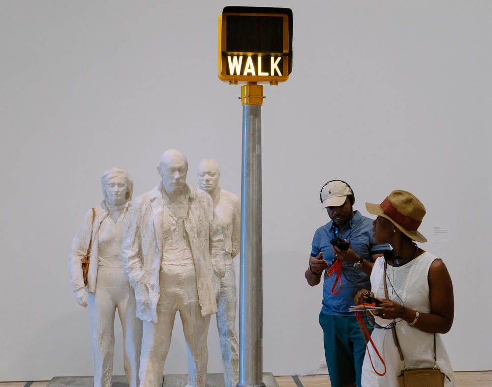 """""""Walk, Don't Walk""""sculpture by George Segal (1976) at Whitney Museum"""