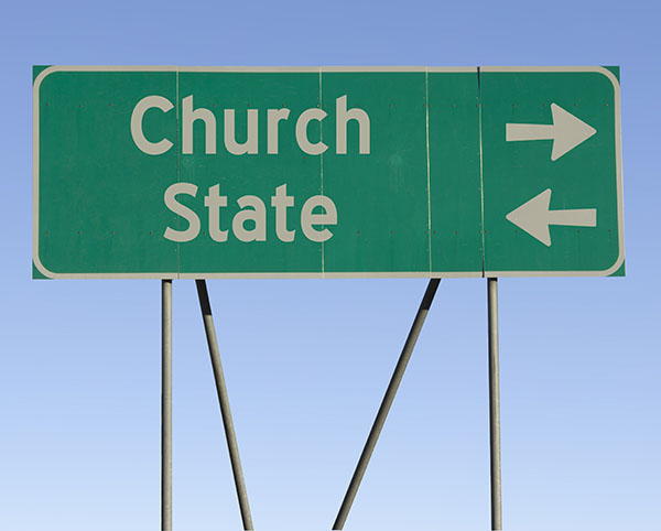Church or state - road sign