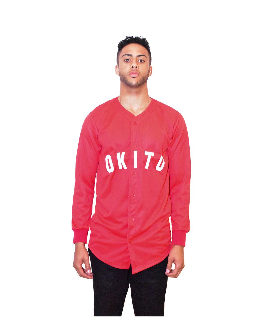 "OKITO Red ""243"" Home Baseball Jersey"