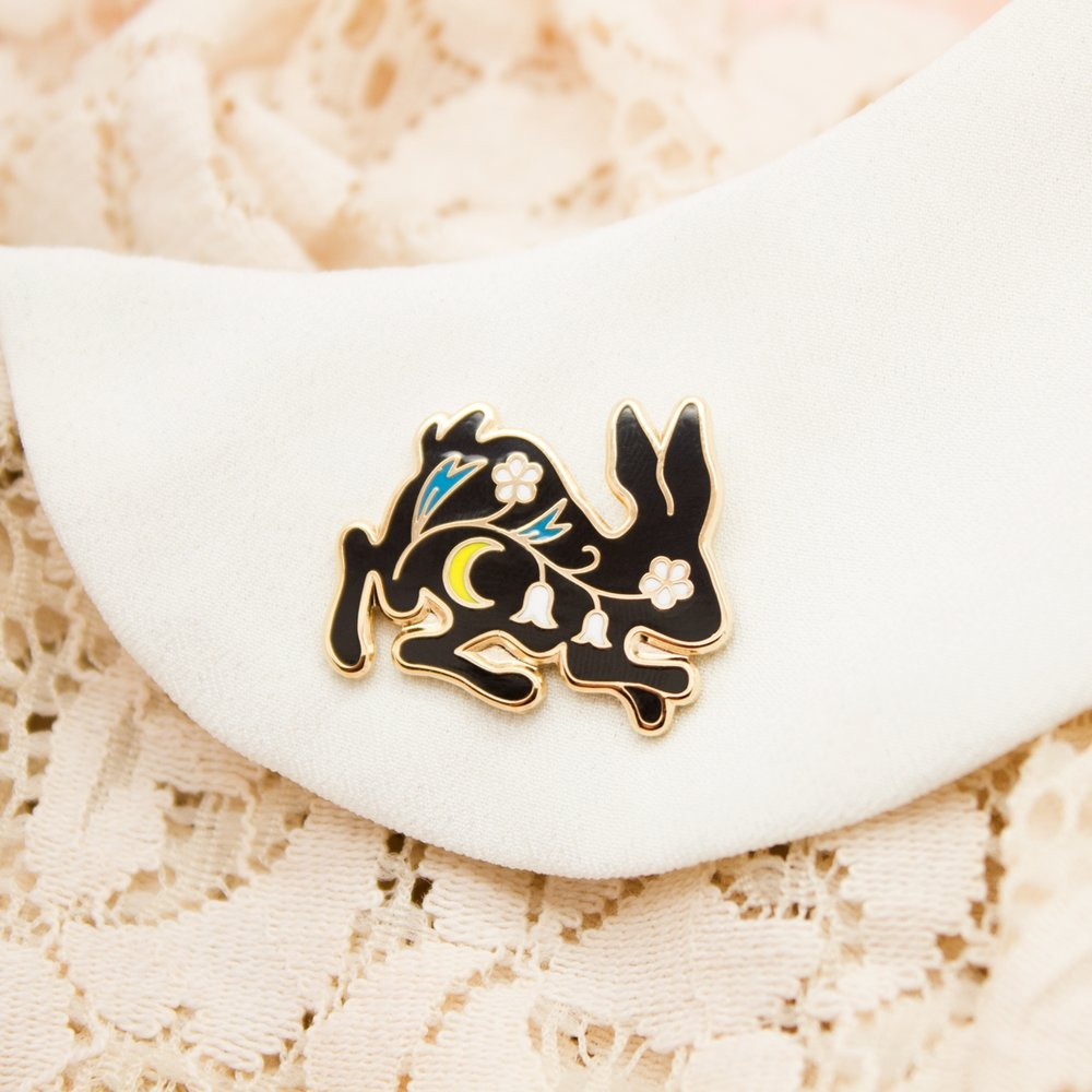 "TINY BUNNY PIN BY MONI  1"" Hard Enamel Lapel Pin High Polished Gold Plating Black Rubber Cap $10 Retail / $5 Wholesale"