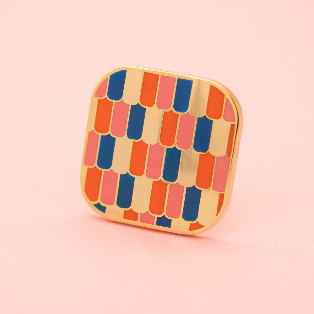 "ROOF (GEO-JAN19)  1"" Hard Enamel Lapel Pin High Polished Gold Plating Pink Heart-Shaped Rubber Cap $10 Retail / $5 Wholesale"