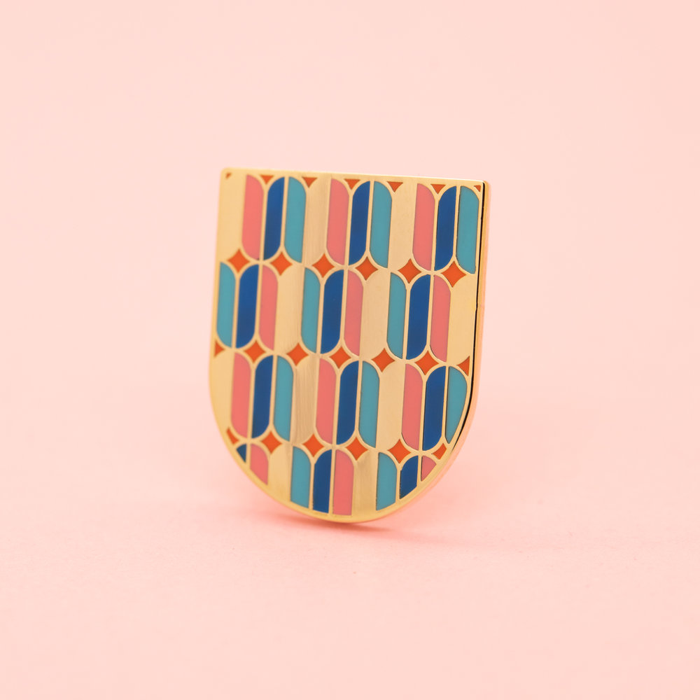 "SHIELD (GEO-JAN19)  1"" Hard Enamel Lapel Pin High Polished Gold Plating Heart-Shaped Pink Rubber Cap $10 Retail / $5 Wholesale"