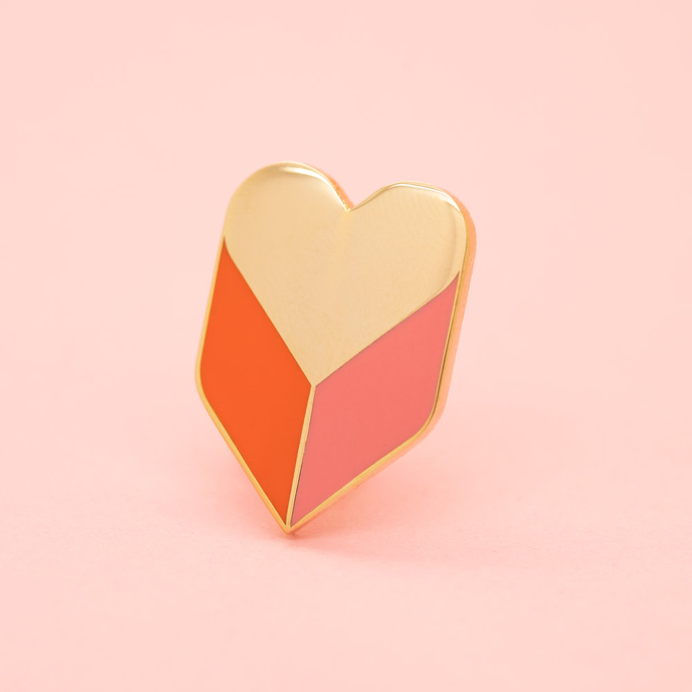 """HEART SHADOW (GEO-JAN19)  1"""" Hard Enamel Lapel Pin Pink Heart-Shaped Rubber Caps High Polished Gold Plating $10 Retail / $5 Wholesale"""