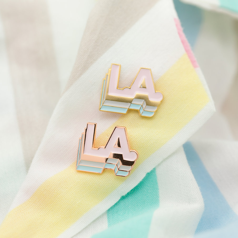 """LOS ANGELES (GEO-NOV18)  .75"""" Soft Enamel Lapel Pin Matte Gold or Polished Copper Plating Heart-Shaped Pink Rubber Caps $8 Retail / $4 Wholesale"""