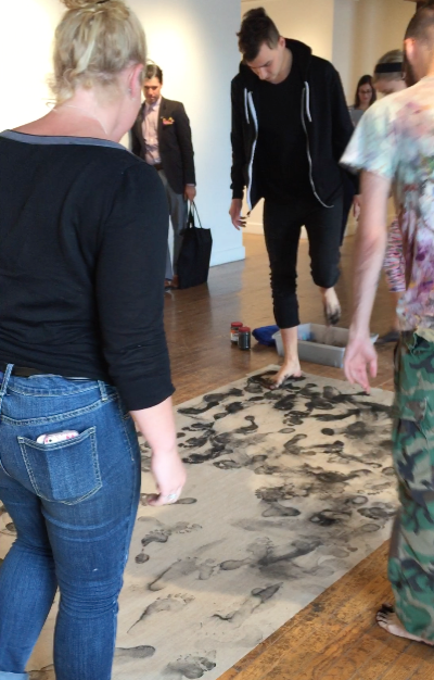 Mariah Howington   Dancing and mark-making 01   Charcoal on linen   Alexander Hall (SCAD), Savannah, GA   2014