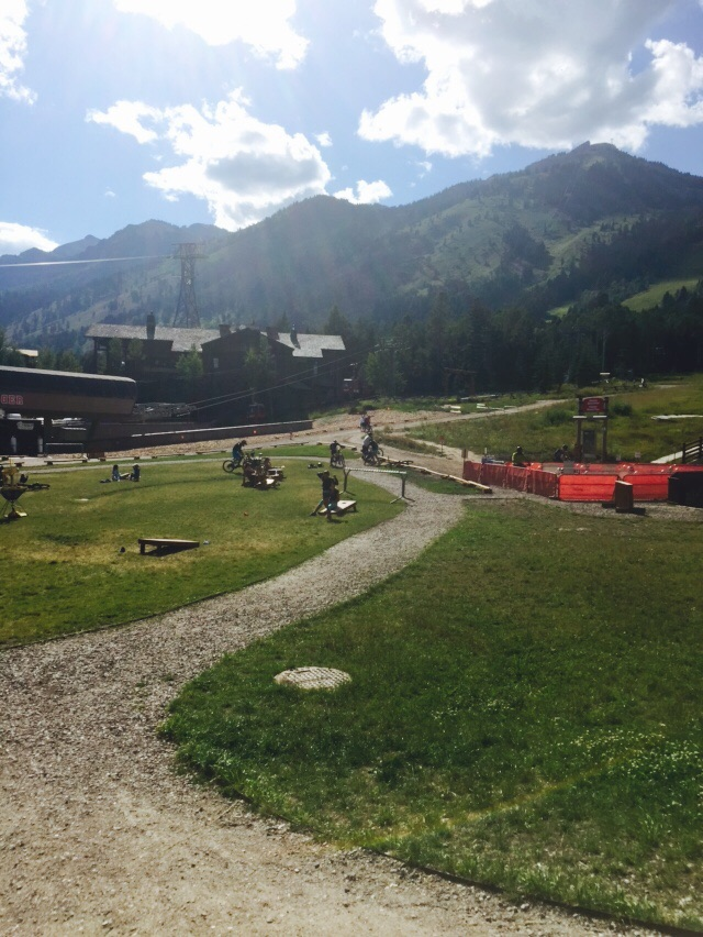 View of Teton Village and the mountain bikers.