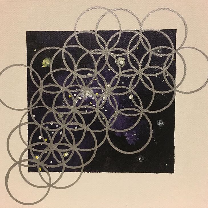 "Mariah Howington  Stannic in Space 01  Acrylic and metallic Sharpie on canvas 6"" x 6"" Chicago, IL 2017 @mariahhowington"