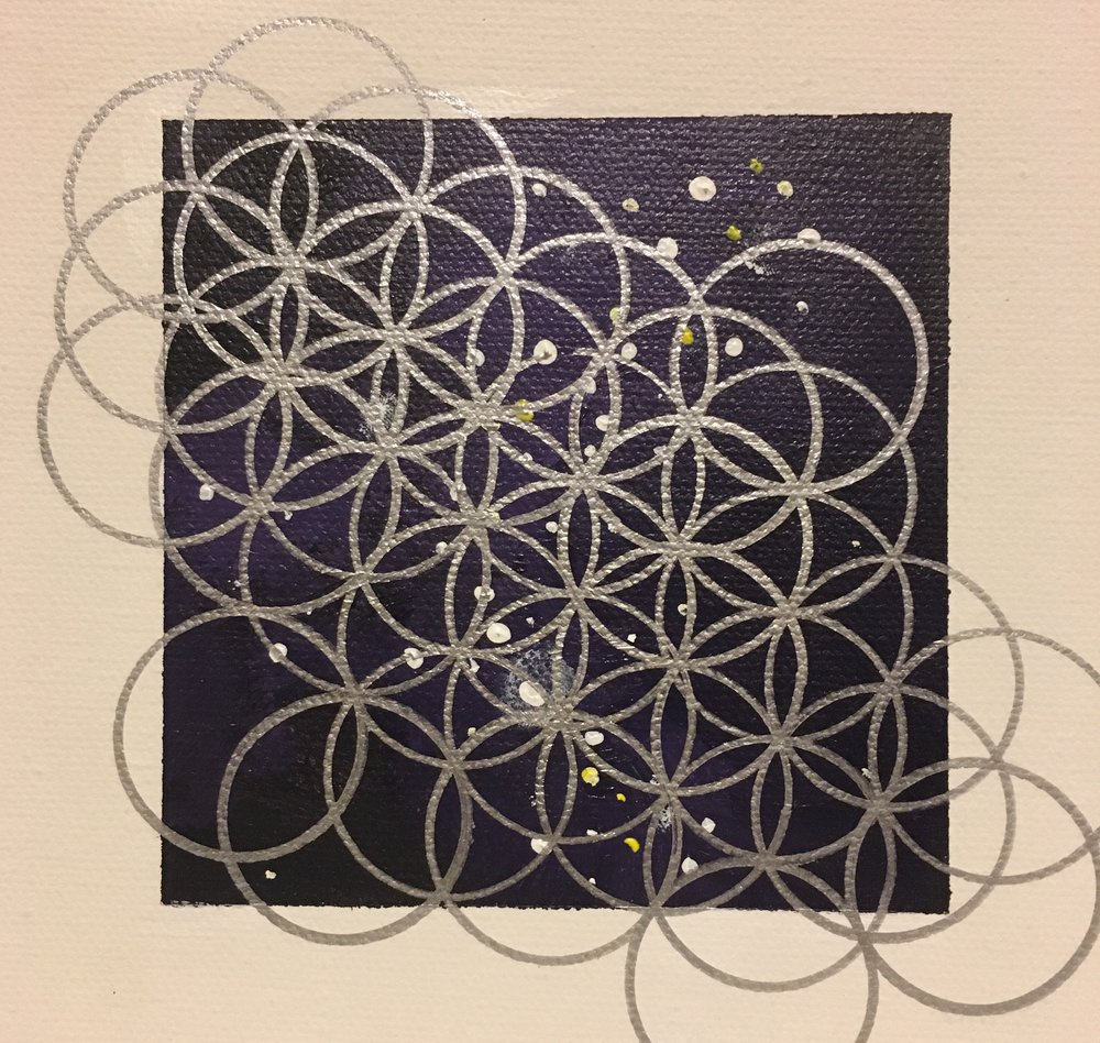 "Mariah Howington  Stannic in Space 03  Acrylic and metallic Sharpie on canvas 6"" x 6"" Chicago, IL 2017 @mariahhowington"