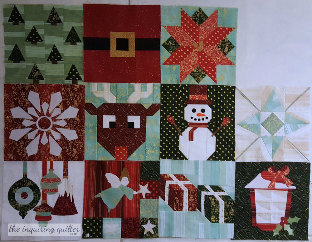 Blocks 1 through 10 - I Wish You a Merry Quilt Along