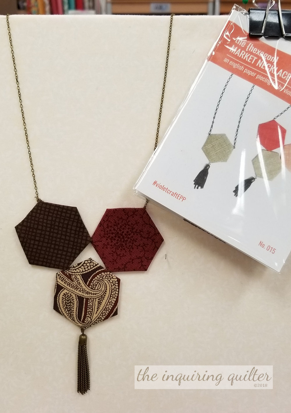 A few months ago, this cute kit came in. I love how simple this is! Make a few hexies, add the jewelry fixings, and you've got a necklace! I love how clever and easy this is.