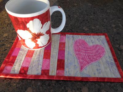 Vickie's Island Batik Galentine mug rug