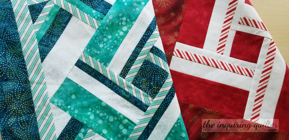 Water Vortex and Peppermint Twist table runners