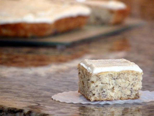 To Die For Banana Cake with Vanilla Bean Frosting - ButterYum. the very best banana cake recipe. banana snack cake recipe. butteryum's banana cake recipe. butteryum banana cake recipe. banana cake from butteryum.