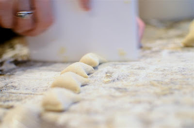 The dough is then cut into 1-inch wide bits.  You can cook the pieces as is, but it's more fun to do the following.