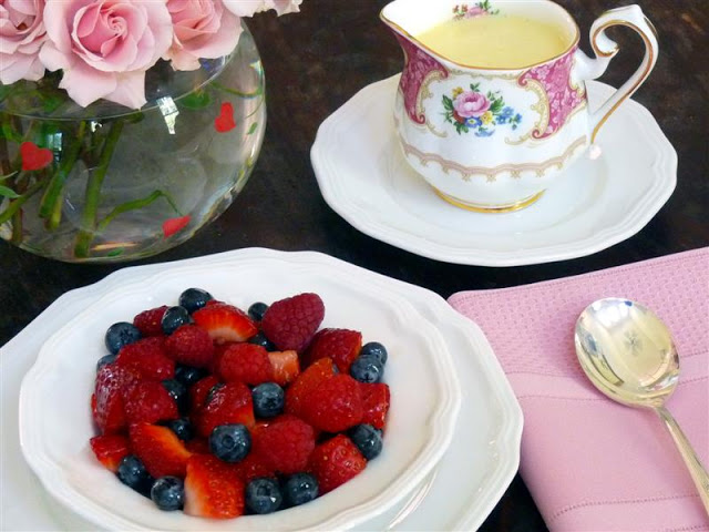 Mixed Berries with Double Vanilla Creme Anglaise, ButterYum.  elegant mother's day dessert.  simple brunch dessert idea.  elegant dessert ideas.