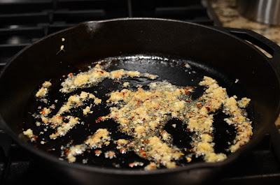 Time to cook - saute the garlic, ginger, and crushed red pepper flakes in oil.  Be careful not to burn.