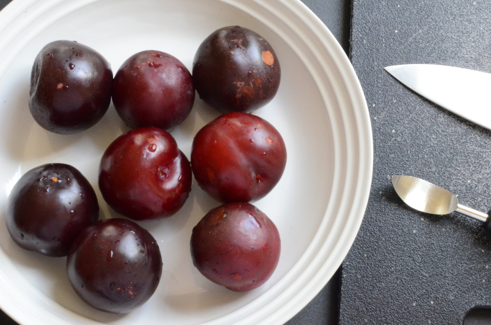 start with 2 pounds of beautiful plums - these organic beauties were in my last CSA delivery