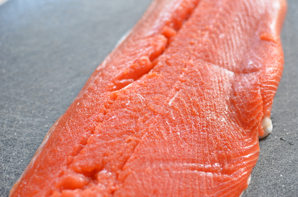 Start with a beautiful salmon fillet, pin bones removed (you can use individual portions if you prefer).