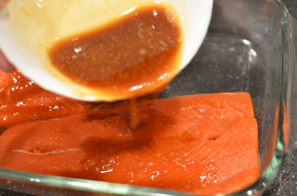 Pour over salmon and pop in the oven.