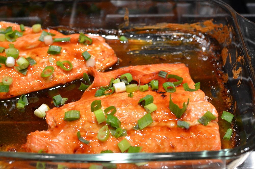 Remove from oven, drizzle with glaze from baking dish,, and sprinkle with scallions.  Serve!