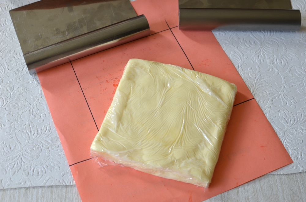 Then I wrapped the butter with plastic wrap and set it aside in a cool place until it was needed.