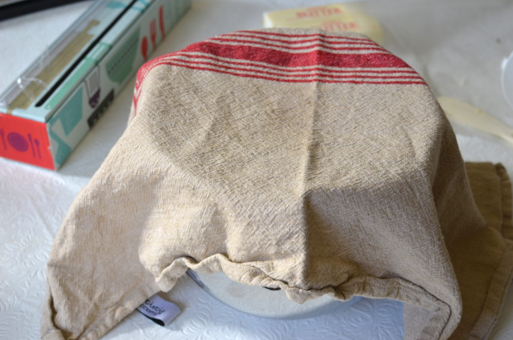 Cover the dough to rest- I used a towel here, but next time I'll use plastic wrap because my dough dried out a bit.