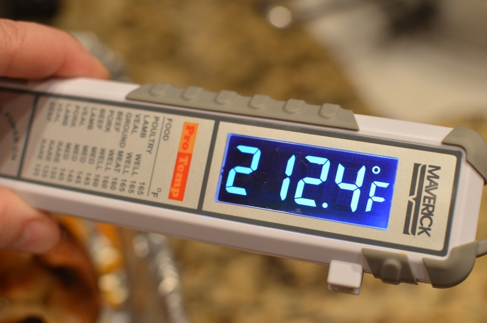 The interior temperature should reach 212 t0 215F on an instant read thermometer.