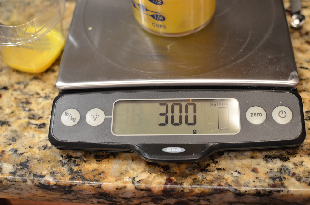 Weigh the eggs with a  digital scale .