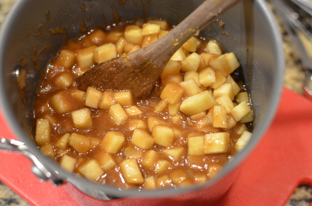 Remove from heat and stir in the diced apples.