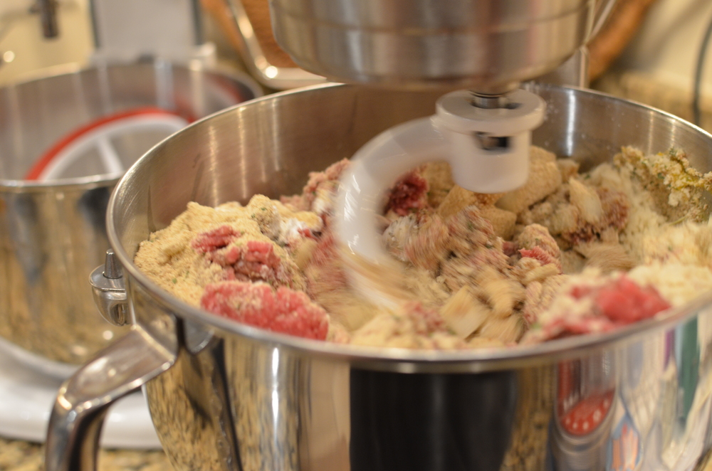 If you have a 6-quart or larger stand mixer, you can mix everything in the same batch - otherwise mix in two batches. Alternatively, you can mix everything by hand in a very large bowl or stockpot.