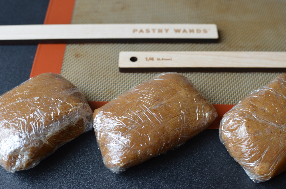 The rolled dough is supposed to be pressed to 1/4-inch thickness, so I got out my trusty Pastry Wands.