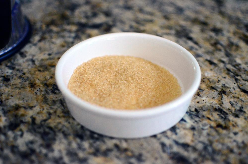 Turbinado sugar (or superfine sugar).