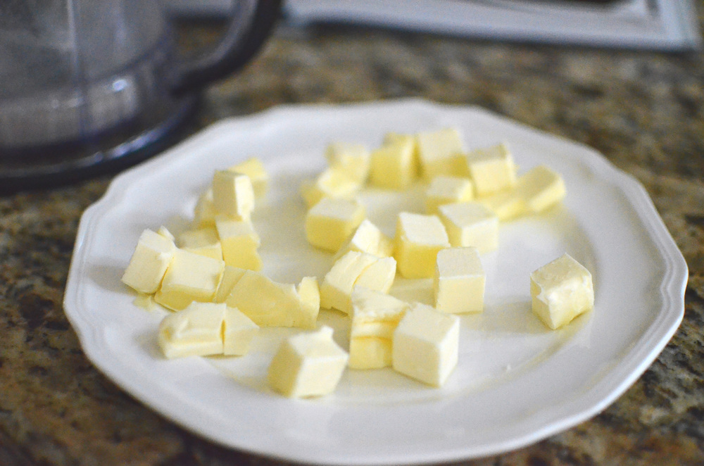 Next we'll add chilled butter that has been cut into 1/2-inch cubes.