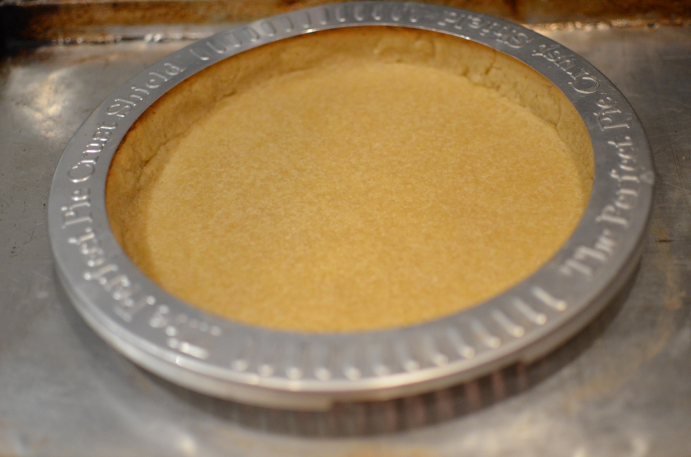 Cover the edges of the crust with foil or a pie shield and return to the oven for 5-10 minutes.