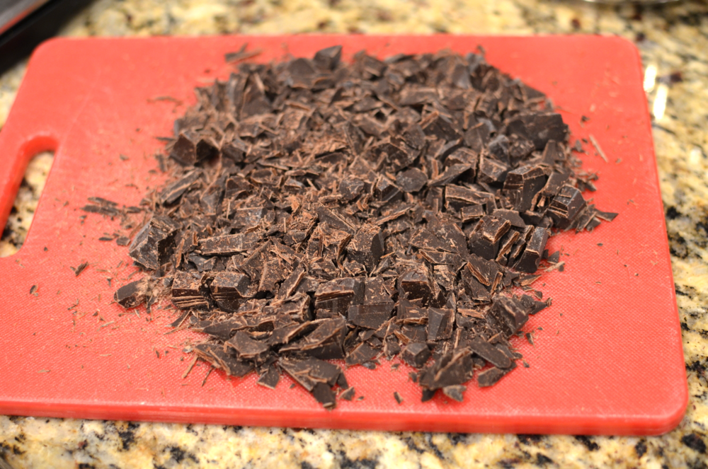 Chop chocolate into small pieces.