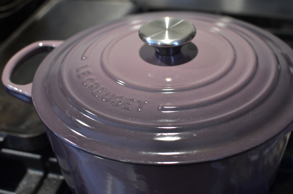 Cover Dutch ovenwith a tight fitting lid.