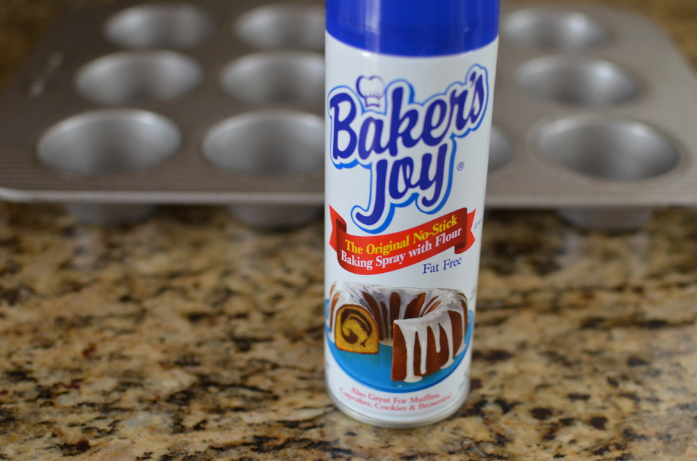 This recipe is pretty straight forward.  The first thing we need to do is preheat the oven and prepare our muffin tin.  I always spray my pans with Baker's Joy - it enables my baked goods to release perfectly.