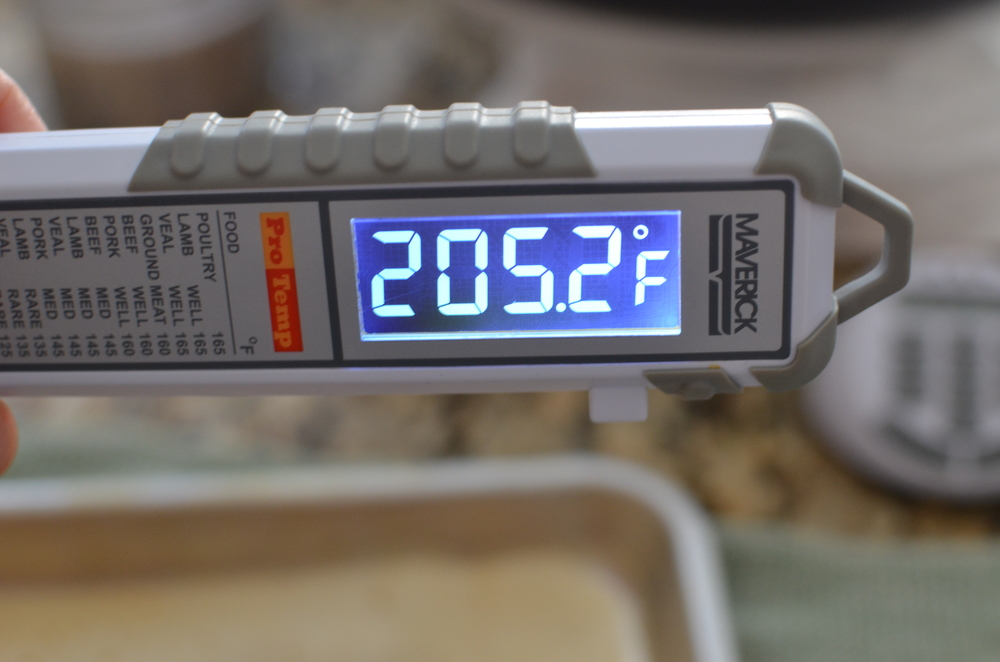 The bread is done when an internal temperature of 205F is reached.