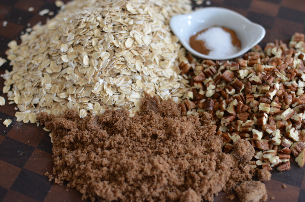 To begin with, we have to make the granola that goes into these cookies.  Chopped nuts, rolled oats, brown sugar, cinnamon, and salt.