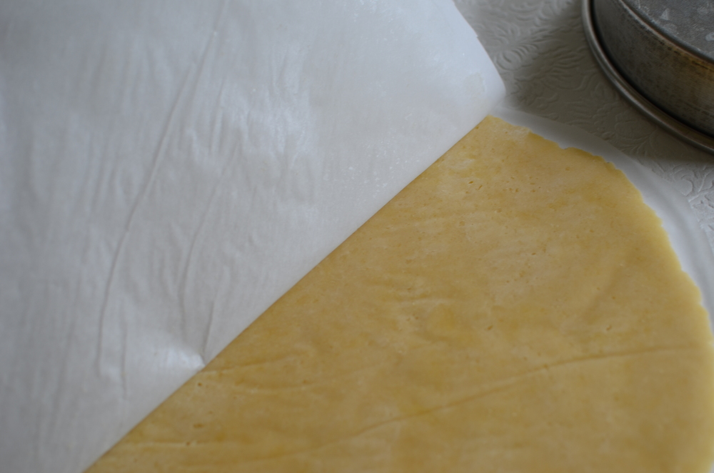 Once the dough was chilled, it was very easy to remove the top portion of parchment paper.