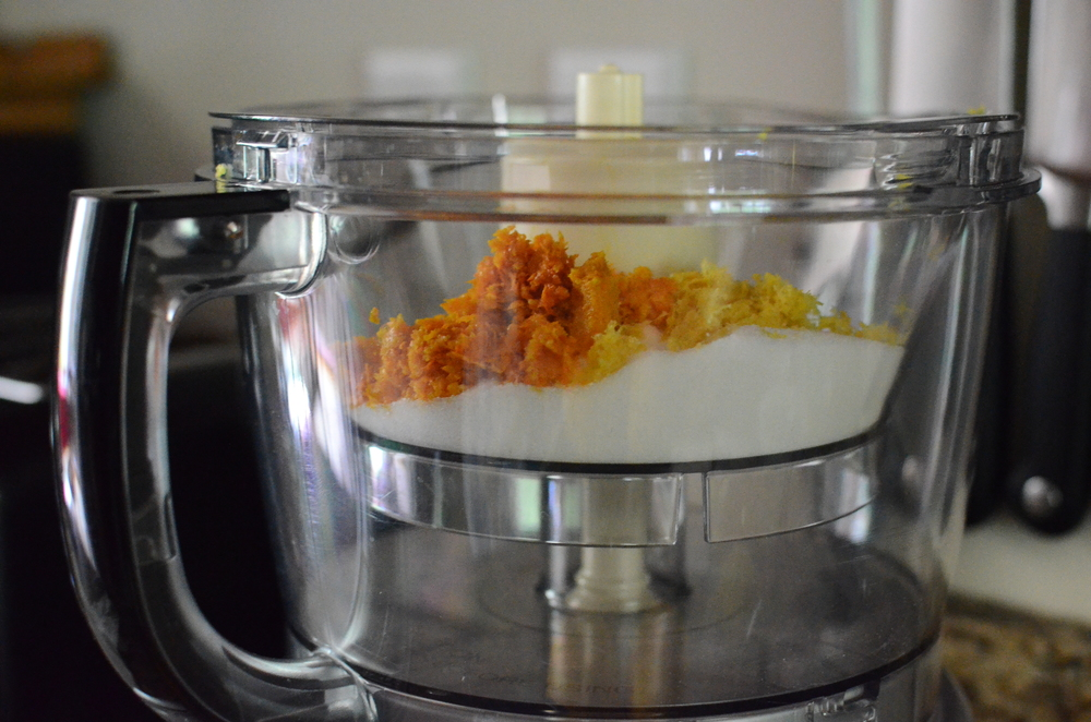 To make the filling, combine the sugar, lemon zest, and orange zest in a food processor until the zest is very finely ground.  By the way, be sure to scrub the citrus before zesting them.