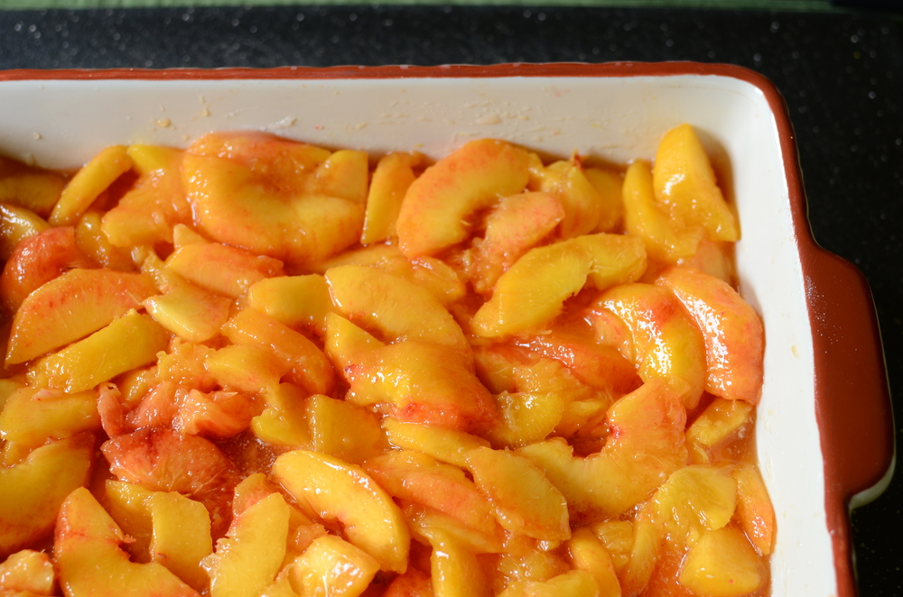 Spread the peaches out evenly and bake for 20 minutes.