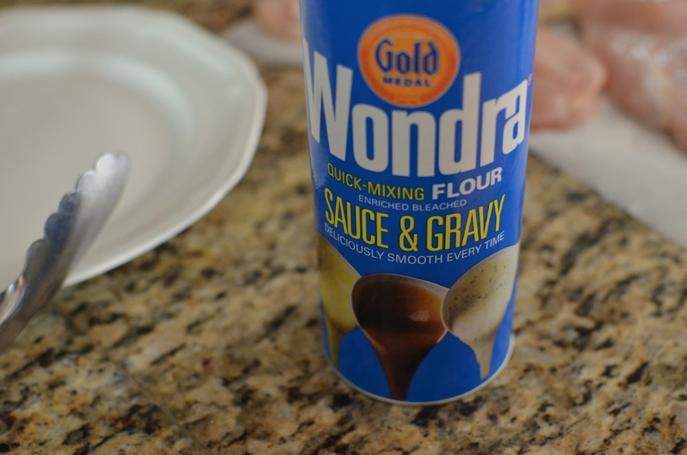 I used Wondra Flourbecause it coats the chicken so lightly and evenly, but you can use plain flour instead.