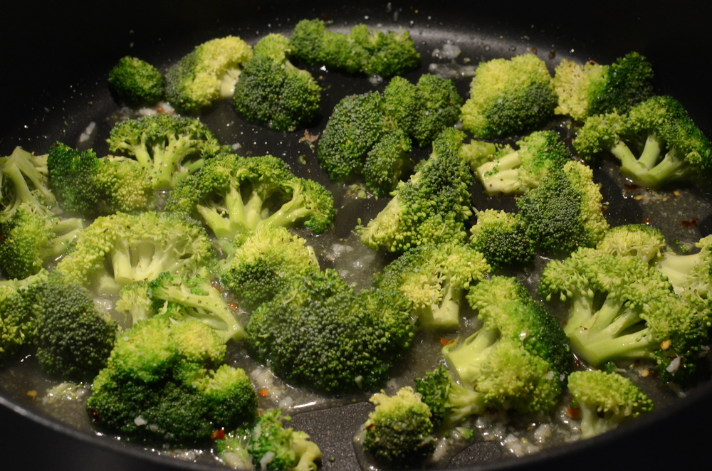 Immediately add the broccoli florets.