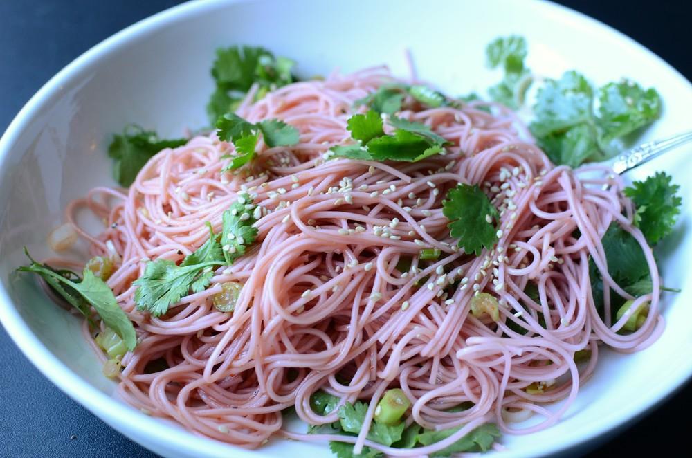 Cold Ume Somen (Japanese Plum Noodles) - ButterYum.  Japanese cold noodle salad.  pink pasta.