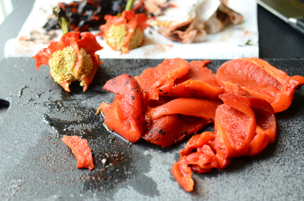 remove stem and seeds from roasted red peppers, then make this