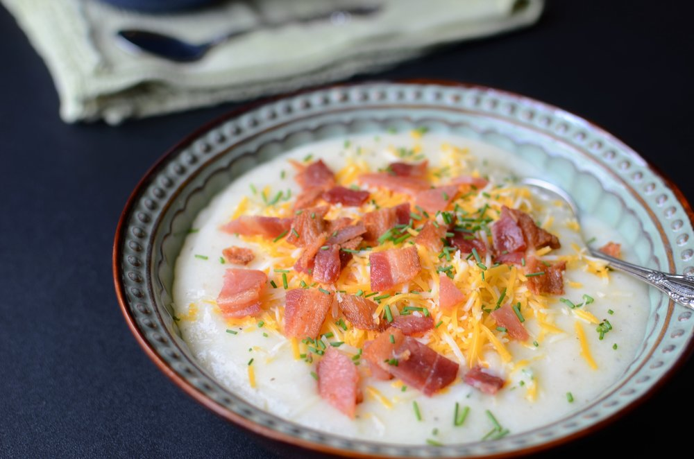 Skinny Loaded Potato Soup Recipe with How-To Photos