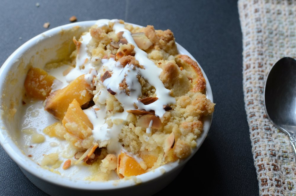 Peaches and Cream Crumble Recipe with How-To Photos