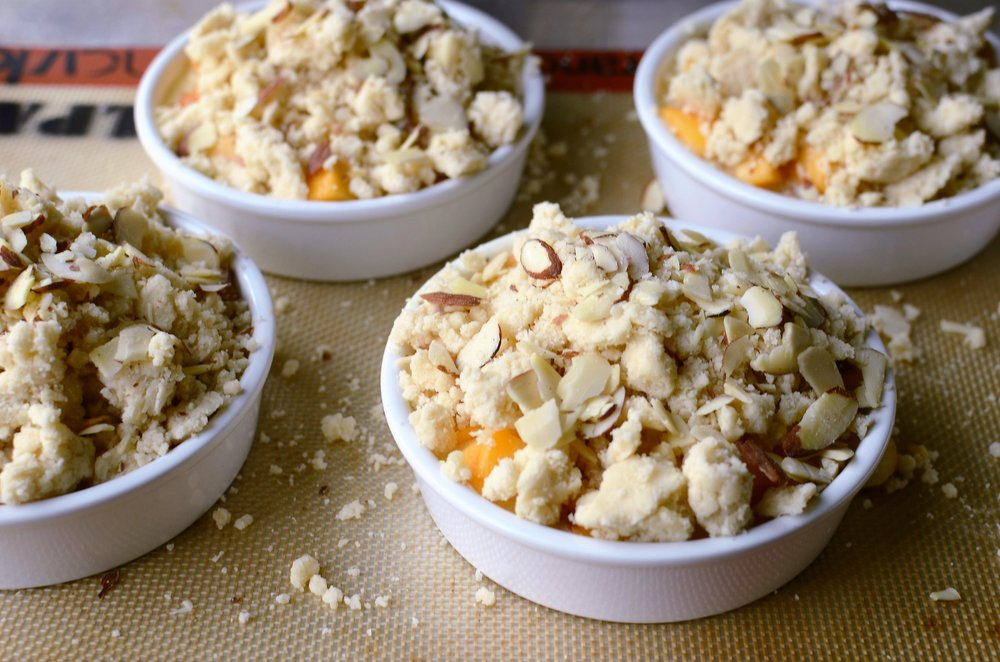 Peaches and Cream Custard Crumble - ButterYum