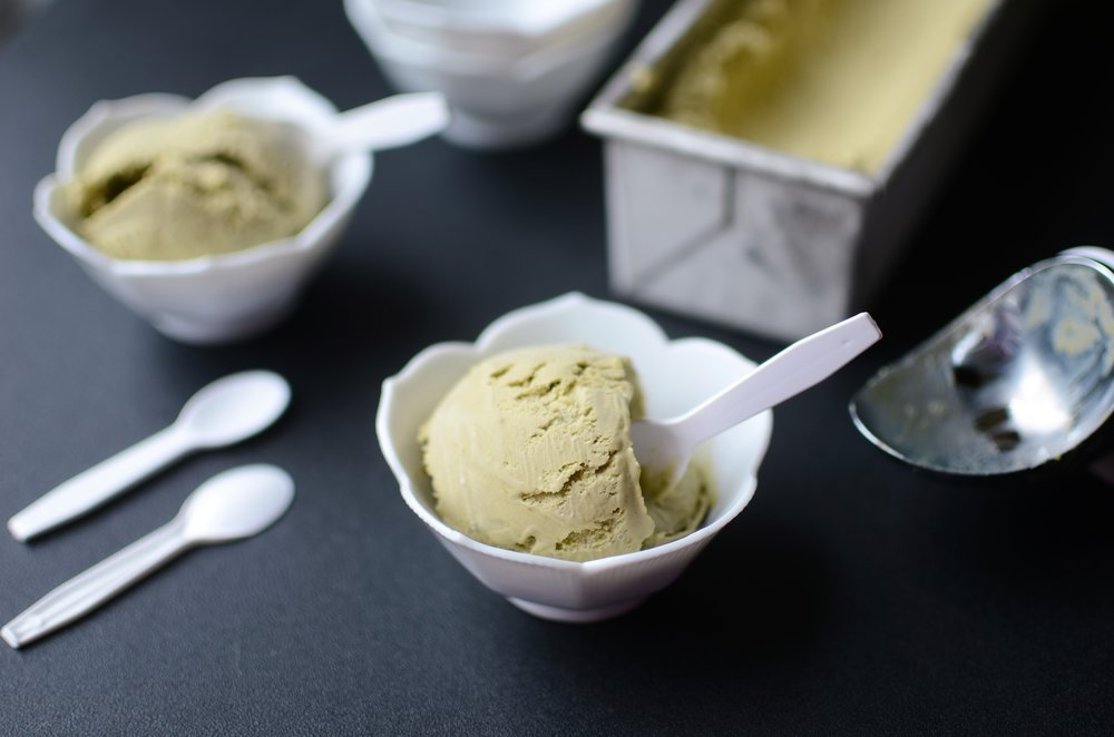 Matcha Ice Cream - ButterYum. how to make matcha ice cream. recipes that use matcha. green tea powder ice cream. matcha dessert recipe. dessert recipes for matcha. Japanese ice cream recipe.